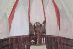 Heinrich Mauersberger, Heilige Halle, Öl auf Hartfaser, 40 x 30 cm