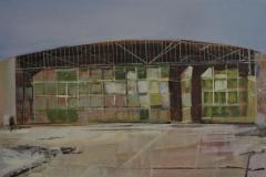 Heinrich Mauersberger, Hanger, Öl auf Hartfaser, 40 x 90 cm