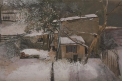 Heinrich Mauersberger, Altschnee, Öl auf Hartfaser, 40 x 70 cm