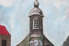 Markus Lange, Ghostchurch, Öl auf Leinwand, 100x60 cm