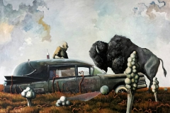 Markus Lange, Swap Meet, Öl auf Leinwand, 100 × 150 cm, 2015