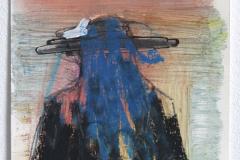 Anton Schön, Figur in Rot & Blau, 27 x 18 cm, Pastel-, Ölkreide/ Lack auf Papier, 2019