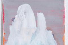 Anton Schön, Figur in Weiß, 27 x 18 cm, Pastelkreide/ Lack auf Papier, 2019