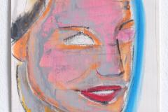 Anton Schön, Komposition in Blau/Pink/Orange, 27 x 18 cm, Pastelkreide/ Lack auf Papier, 2019