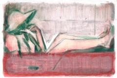 Anton Schön, Komposition in Grün&Rot_Ölauf Papier_19,5x28,5_2019