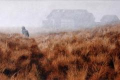 Eugen Kunkel, Nebel II, Acryl/Holz, 30x60cm, 2013