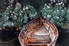 Eugen Kunkel,  Das alte Boot II, Acryl/Holz, 60x40 cm, 2020