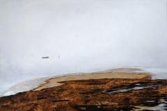 Eugen Kunkel,  Strand, Nebel, Acryl/LW, 80x120 cm, 2021