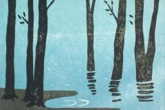 Franziska Neubert - Bäume am See, Holzschnitt, 2016