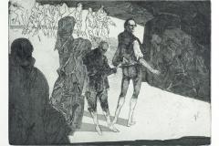 Robert Schmiedel Trompeten König Heinrich Lords und Gefolge, Radierung