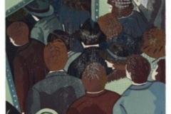 Franziska Neubert, Holzschnitt, verlohrene Form, Fokus - Menschenmenge