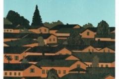 Franziska Neubert, Holzschnitt, verlohrene Form, Fokus - Siedlung