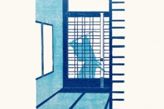 Franziska Neubert, Angriff, Farbholzschnitt, 24 x 35 cm, 95 Euro