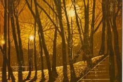 Franziska Neubert, Nächtlicher Park, Farbholzschnitt, 50x50 cm, 348 EUR