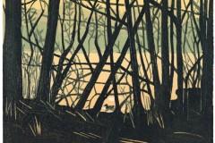 Franziska Neubert, Entenjagd, Farbholzschnitt, 31,6 x 41,3 cm, 228 Euro