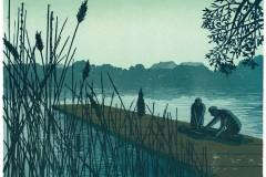 Franziska Neubert, Ertrinkende, Farbholzschnitt, 31,6 x 41,3 cm, 228 Euro