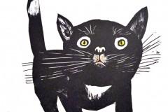 Michas Katze, Linolschnitt, 30x40 cm,  150 Euro