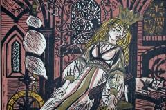 Dornröschen, Holzschnitt, 55x42 cm, 250 Euro signiert, 130 unsigniert