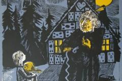Hänsel und Gretel, Holzschnitt, 40x35 cm, 250 Euro signiert