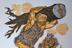 Rumpelstielchen, Holzschnitt, 40x35 cm, 250 Euro signiert, 120 Euro unsigniert
