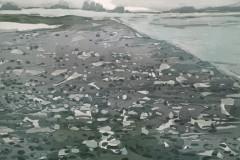Petra Schuppenhauer, Ufer, Farbholzschnitt, 100x140cm, 2018, 1400 Euro