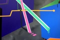 Marlet Heckloff, Liniennetz, Acryl auf Leinwand, 110 x 145 cm, 2018