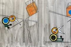 Mayjia Gille, KIWI Rakkauslaulu: 2: Du hast mir mein Herz geklaut, Kreide, Lack, Acryl auf Leinwand, 30x50 cm