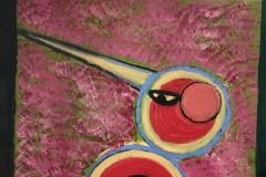 Mayjia Gille, Kiwis Art Liebskummerverarbeitung: Kaminklettern durch Maccia auf Korskia, Öl, Lack auf Leinwand, 50x50 cm