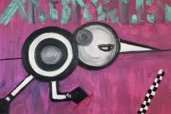 Mayjia Gille, Kiwis Art Liebskummerverarbeitung: New York Marathon Sieg!, Öl, Lack auf Leinwand, 60x80 cm