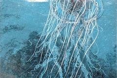 Petras Schuppenhauer, Meduse aufsteigend, Farbholzschnitt hinterleuchtet, 2015