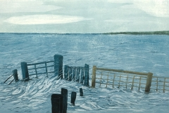 Petra Schuppenhauer, Hochwasser, Farbholzschnitt, verlorene Form, 53 cm x 75 cm, 2017
