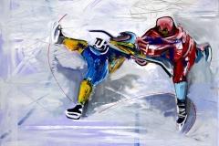 Philipp Gloger, Duell I, Öl und Acryl auf LW, 60x80 cm
