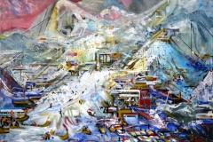 Philipp Gloger, Skigebiet II, Acryl auf LW, 120x150 cm, 2013