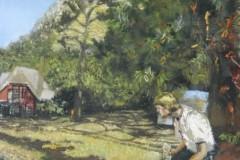 Philipp Orlowski, Woodworker, Öl auf Hartfaser, 40 x 70 cm, 2018