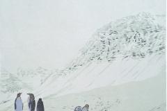 Petra Schuppenhauer, Mehrfarbiger Holzschnitt, Am Hang, 38,5x50 cm, 2020