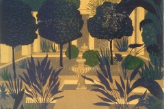 Franziska Neubert, Jardin, mehrfarbiger Holzschnitt, verlorene Form, 60x65 cm, 2017