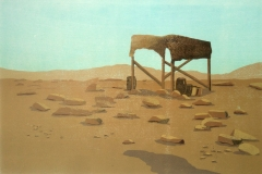 Franziska Neubert, Wüste, mehrfarbiger Holzschnitt