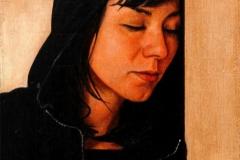 Eugen Kunkel, Geschlossene Augen II, Acryl/Holz, 30x20cm, 2010