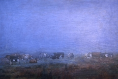 Eugen Kunkel, Kühe im Nebel, Acryl/Holz, 60x90 cm, 2016