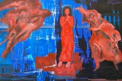 Toni Minge, The Birth of Romantic Patterns, mixed media, 130x90 cm, 2021
