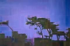Toni Minge, am_abend_01, Öl auf Leinwand, 100 x 100 cm, 2020