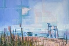 Toni Minge, die_masten_01, Öl auf Leinwand, 60 x 80 cm, 2020