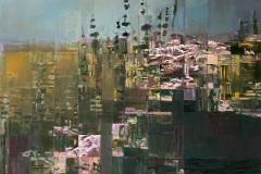 Toni Minge, die_wildblumen_01, Öl auf Leinwand, 145 x 15 cm, 2020