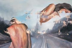 Toni Minge, Die Straße, Öl auf Leinwand, 140x80 cm, 2018