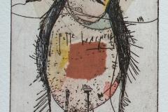 Welf Schiefer, Fette Wachtel, Radierung, Collage, 21 x 15 cm, 2019
