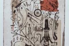 Welf Schiefer, Geburtstag, Radierung, Collage, 40 x 30 cm, 2019