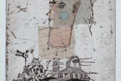 Welf Schiefer, Was sie denken, Radierung, Collage, 40 x 30 cm, 2019