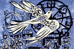 Werner Schinko, Auf der Suche nach dem wunderbunten Vögelchen, Linolschnitt, mehrfarbig