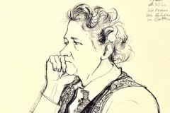 Werner Schinko, Frau Bobzin, die Frau des Lehrers in Gotthun, Federzeichnung