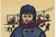 Werner Schinko, Junge im blauen Mantel, Holzschnitt, mehrfarbig
